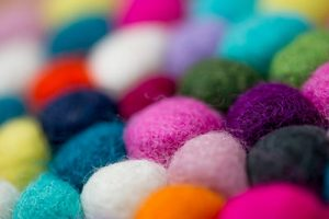 Wool felt balls of various colors