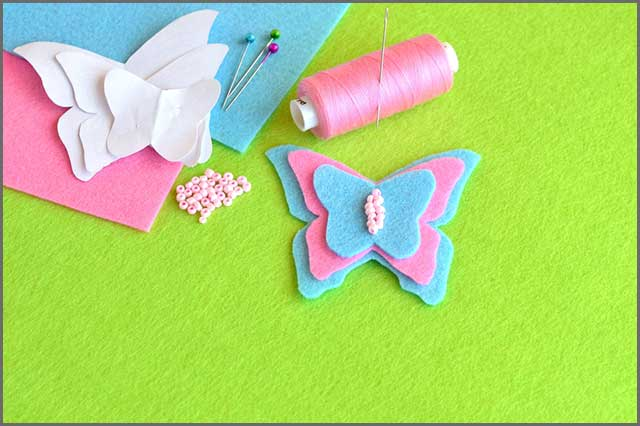 Butterfly felt with paper template