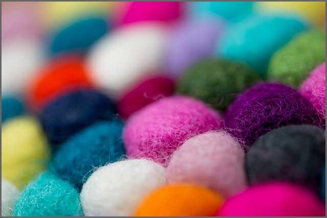 Wool felt balls in various colors