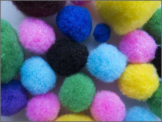 Felted balls of different colors